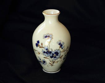 ZSOLNAY VASE - Hand Painted in Blues and Gold from Hungary