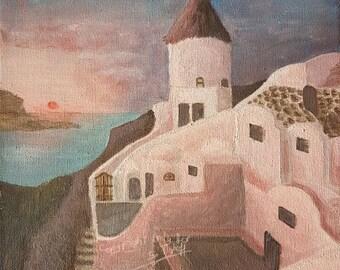 print of acryl painting, Oia, Santorini, Greece