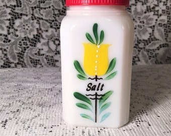 White Milk Glass Hand Painted Salt Shaker Mid Century Kitchenalia