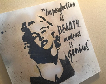Marilyn Monroe Quote Artwork/Painting, Wall Art, Black and Gold
