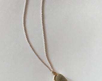 Stone charm necklace with rose gold chain