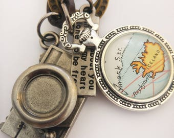 Iceland Map Pendant in Irish, Island Antique Silver and Bronze Vintage Map Necklace with Camera Charm