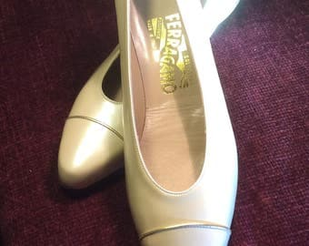 Salvadore Ferragamo Beige Patent Leather Wedge Vintage but never worn  shoes size 9 AA