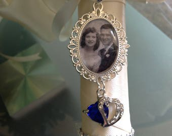 Wedding bouquet remembrance charm something blue, with your photo