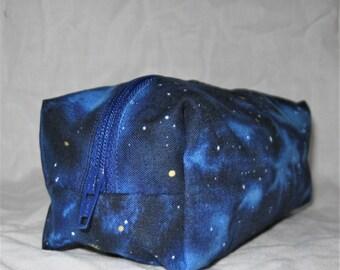 Large Cosmetic Pouch - Makeup Bag - Bridal Makeup Bag - Bridesmaid Gift - Small Accessory Bag - Zipper Bag – Navy Galaxy