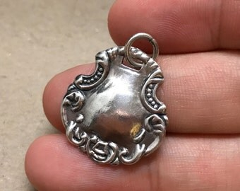 Vintage sterling silver handmade pendant, solid 925 silver charm, stamped 925