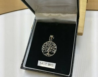 14 Karat / 14 Carat White Gold Pendant Tree Of Life Contemporary Design