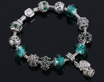 Pandora bracelet Pandora charm European charm bracelet ''PANDORA CHARMS'' green beads crown tpandora style charms pandora style beads