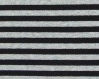 Black and Heather Gray Stripe Knit Fabric