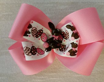Chocolate Easter bunny, Easter, Easter eggs, pink, brown, bunny, item# S4JLB10