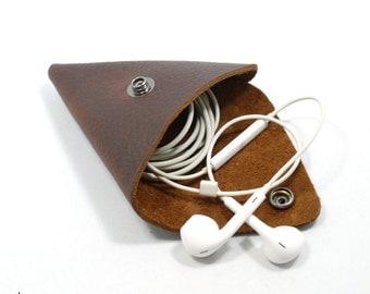 Leather Pouch • Change Pouch • Earpod case • Rustic brown leather coin pouch • leather coin purse • Earphone case • fidget spinner case