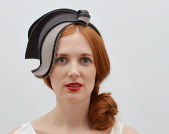Light Grey Dark Grey Fascinator with Gray Rubber and Black Leather