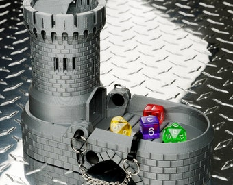 Dice Tower, Tray & Box w/ Spiral Staircase