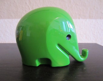 Design classics elephant Drumbo saving box large with key Dresdner Bank ' 80s, green