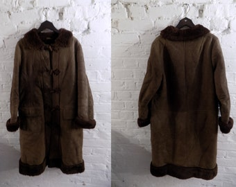 1970s Vintage Boho Dark Brown Suede Sheepskin Long Coat - UK 10 EU 38 US 8