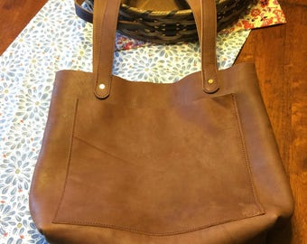 Leather Purse / Tote Bag - Amish Handmade - Brown - Large, Handles, Front Pocket - Made in USA
