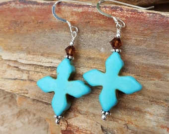 Turquoise Cross Magnesite Gemstone and Sterling Silver Earrings, Magnesite Cross and Sterling Silver Dangle Earrings, Turquoise Cross Drops