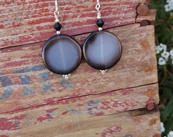 Translucent Black and Brown Agate and Sterling Silver Dangle Earrings, Black and White Gemstone and Sterling Silver Dangle Earrings