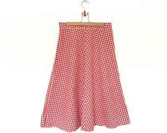 Vintage Red and White Plaid Skirt // 1970s