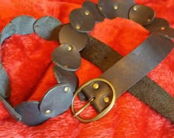 Black leather boho hippie 70s belt