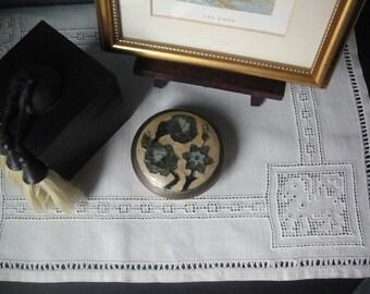 Vintage brass and mosaic lidded jar