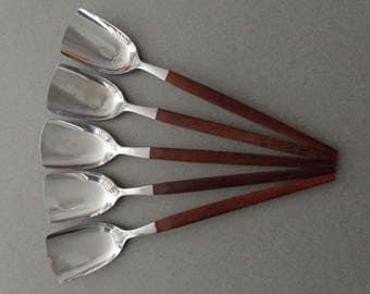 Canoe Muffin Stainless Flatware 5 Jelly Spoons Ekco Eterna silverware