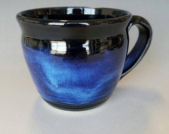 Black, Indigo Blue Stoneware Pottery Ceramic Wheel-Thrown Coffee Mug