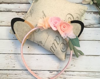 Woodland Deer Ears Headband - Deer Headband, Woodland felt flower crown, Fawn Ears, Woodland Headband, Doe Ears - Kids Deer Headband