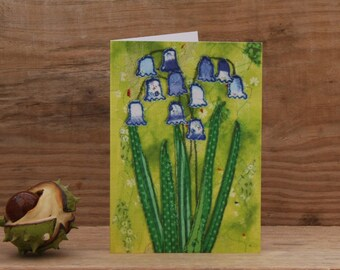 Wild English Bluebells Textile Art Greetings Card Blank