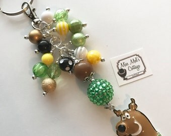 Lovable and Popular Mystery Dog Keychain/zipper pull with accent bead cluster