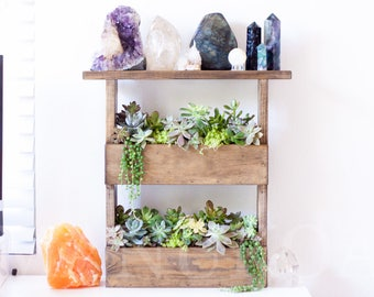 Succulent Wall Planter with a Crystal Shelf   Handmade Wall Shelf   Palette Style   Standing or Hanging Planter for Cuttings & Crystals
