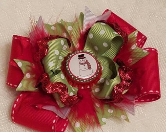 Christmas Snowman Stacked Boutique Hairbow