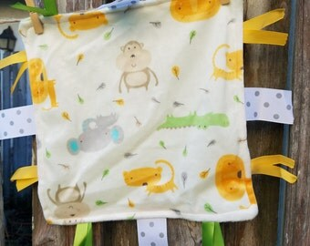 Minky Jungle Animal Lovie with Ribbon - Gender Neutral Lovie - Baby Shower Gift