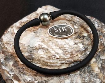 "Men's Tahitian Pearl Bracelet, Silicon & Stainless Steel, 7.5"", #B151"