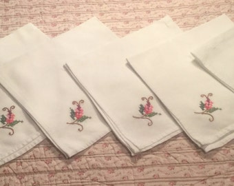 Six Cotton Napkins, cross stitched flowers.