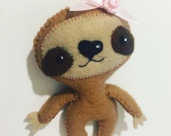 Sloth felt handmade keyring, pocket toy