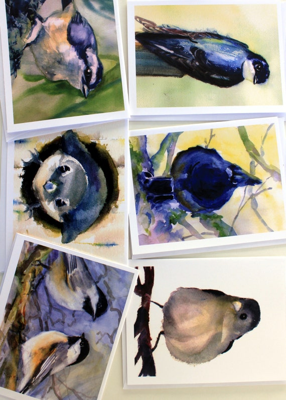 Bird Cards 2 - 6 assorted note cards created from watercolor paintings by Bonnie White