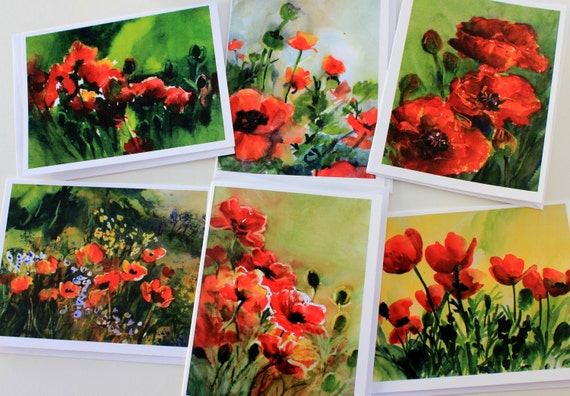 Poppies card pack - note cards - blank cards - Bonnie White watercolor artist - made in the gorge - gorge artist - flowers - floral