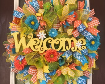 Colorful Spring Welcome Wreath
