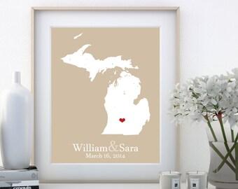 Michigan Wedding Gift Michigan Gift Michigan Map Custom Home Decor 23 Year Wedding Anniversary Gift 1st Anniversary Gift For Him Engagement