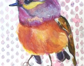 5x7 bight bird watercolor