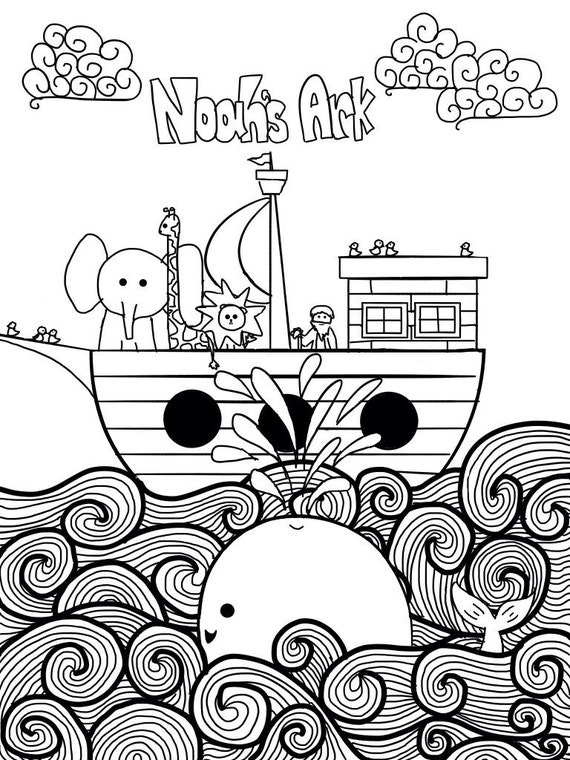 Noah 39 s ark printable coloring page for children by for Noah ark coloring page