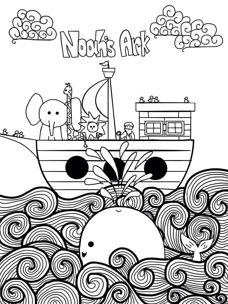 noah 39 s ark printable coloring page for children by whitefantasyart
