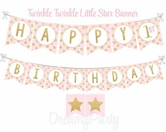 Twinkle Twinkle Little Star Banner, Pink and Gold Happy Birthday Banner, Twinkle Little star First Birthday, Little star Party Decor,Digital