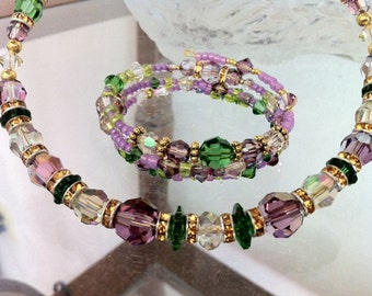"Crystal lilac and green, claspless, ""wrap"", choker and bracelet."