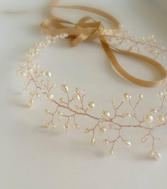 Rose gold Pearl and Crystal Bridal Hair Vine
