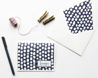 Personal Stationery - Customized Stationery - Women | Professional Note Card - Brush Stroke Design - Navy and White