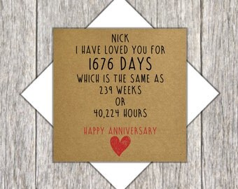 Personalised Anniversary Card ~ Time Increment Card ~ I Have Loved You For ~ Days,Weeks,Hours Card ~ Anniversary Time Card