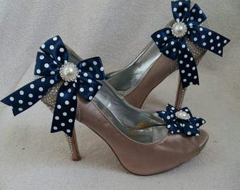 ON SALE Fancy Satin Polka Dots Bow Shoe Clips with Pearl Rhinestones, Wedding, accessory, Bridal, Bridesmaids