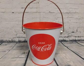 Coca-Cola Soda Cola Collectible Advertising Tin Bucket Pail for Picnic Decor